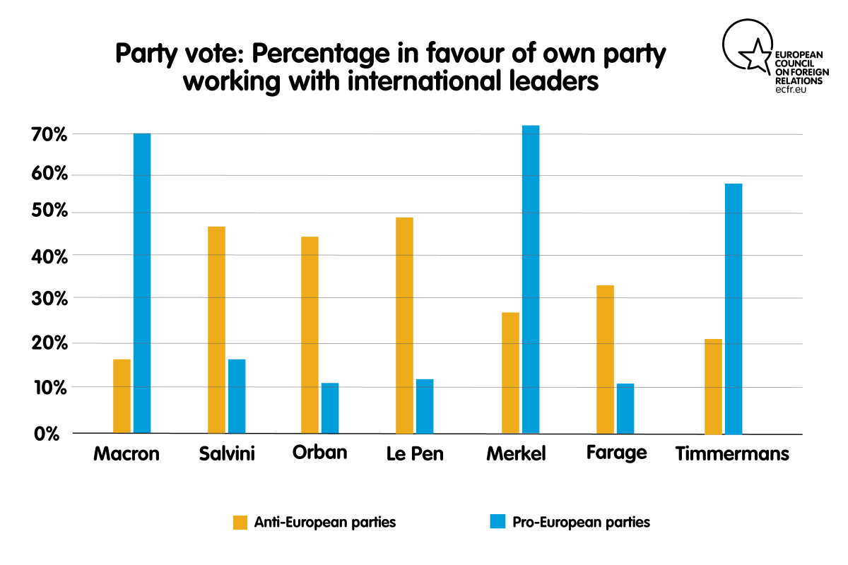 Party vote: Percentage in favour of own party working with international leaders
