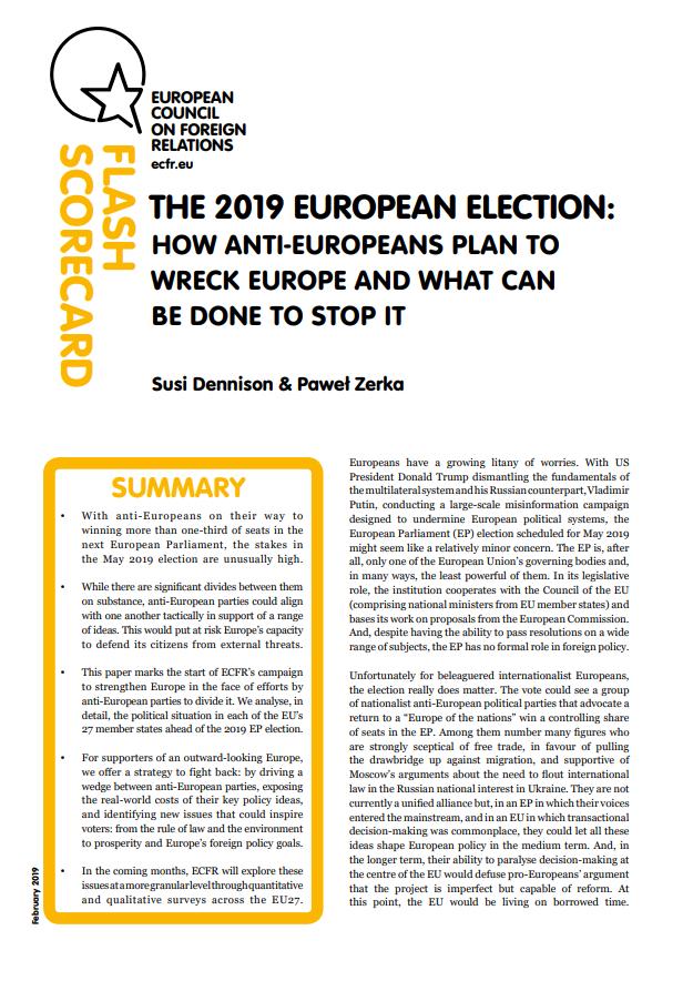 Cover: Las elecciones europeas de 2019: Cómo los partidos antieuropeos planean hacer fracasar a Europa