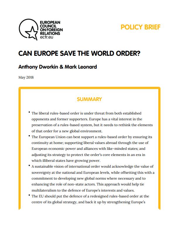 Cover: L'Europe peut-elle sauver l'ordre mondial ?