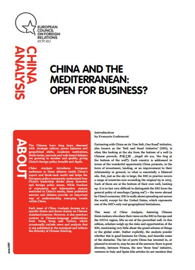Cover: China and the Mediterranean: Open for business?