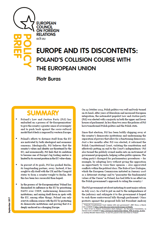 Cover: Europe and its discontents: Poland's collision course with the European Union