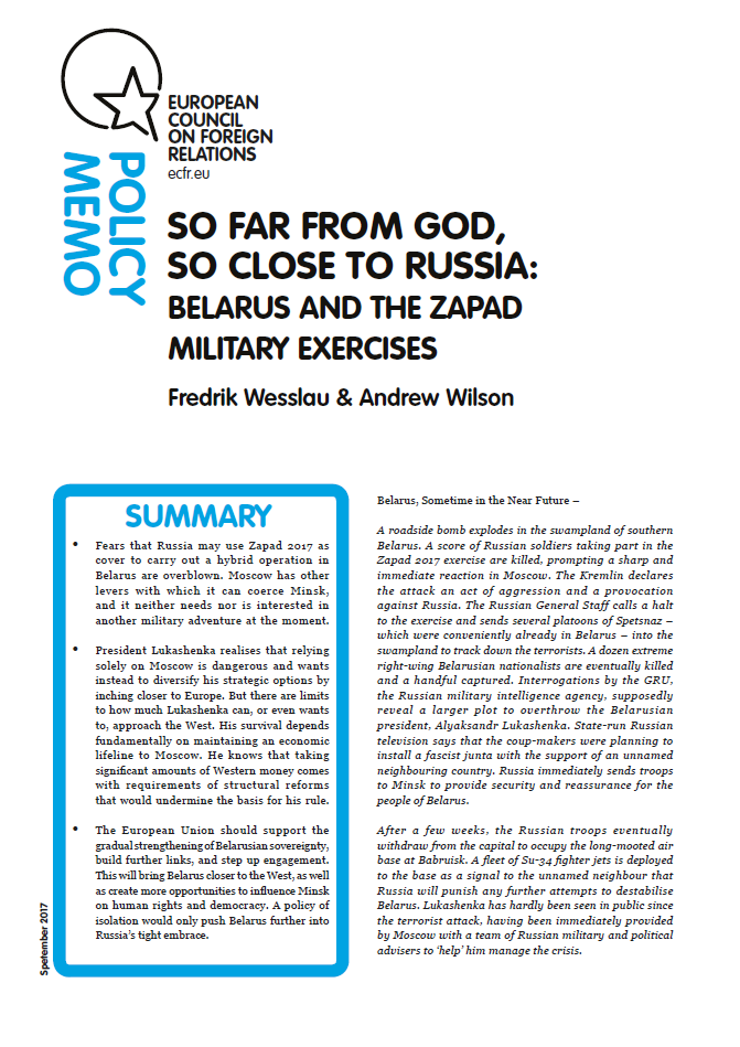 Cover: So far from god, so close to Russia: Belarus and the Zapad military exercise