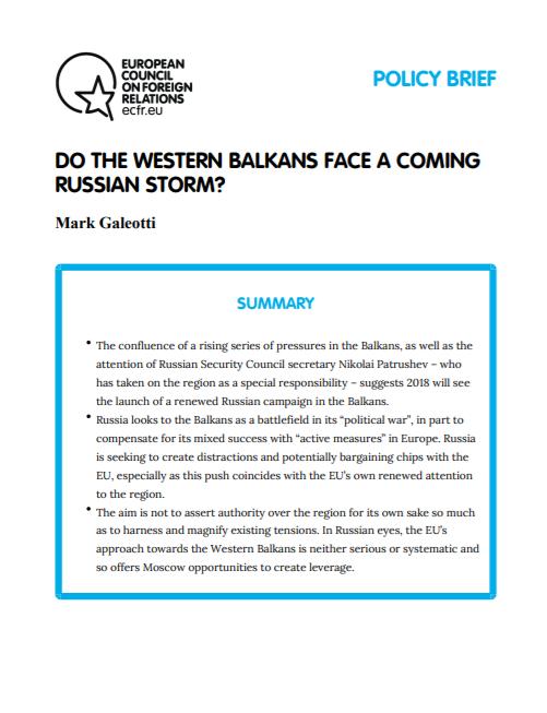 Cover: Zachodnie Bałkany pod presją Rosji