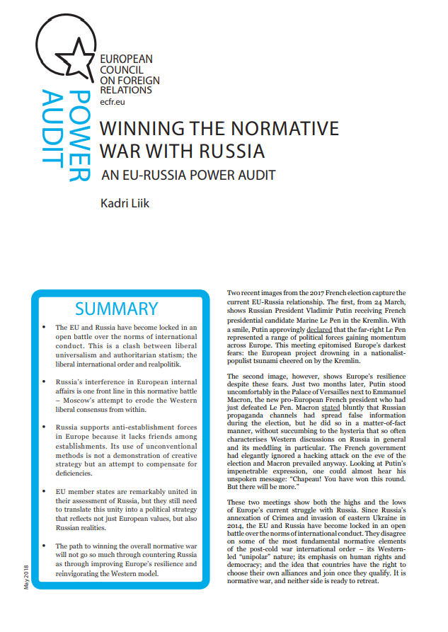Cover: Ganar la guerra normativa con Rusia: Un Power Audit de la relación UE-Rusia