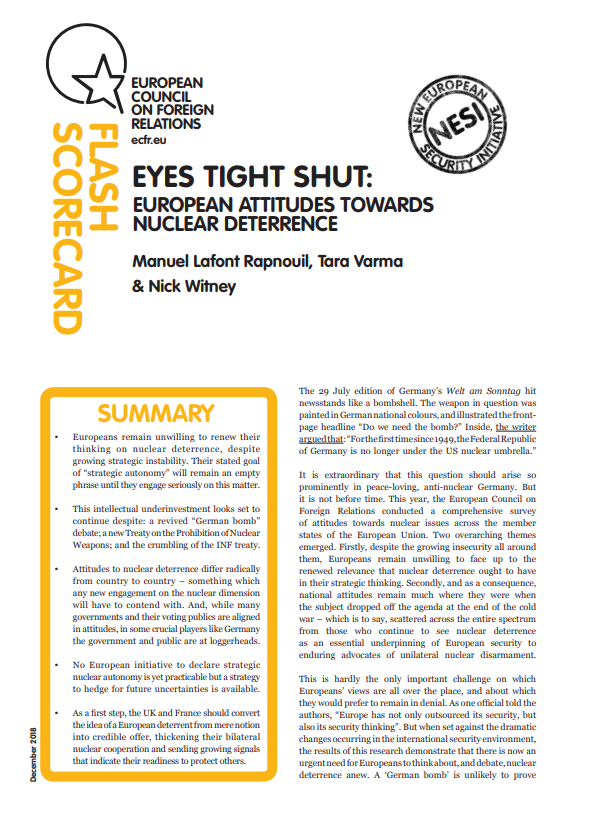 Cover: Las actitudes europeas hacia la disuasión nuclear