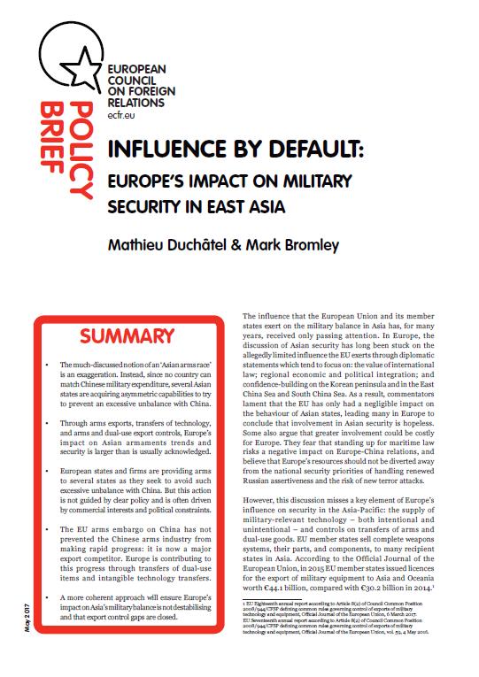 Cover: Influencia por defecto: el impacto de Europa en la seguridad militar en Asia oriental