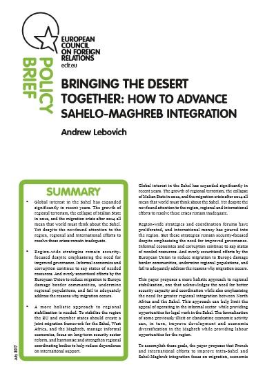 Cover: Acercando el desierto: cómo avanzar en la integración Sahel-Magreb