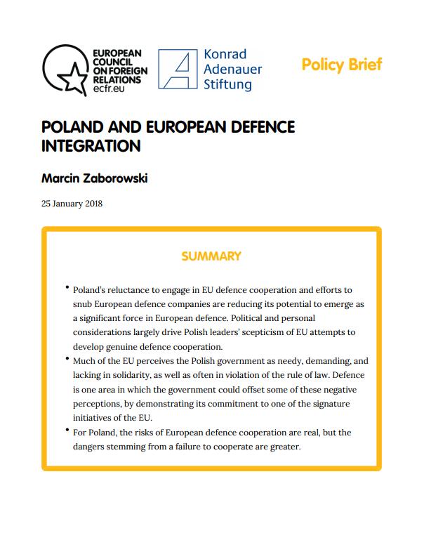 Cover: Polonia y la integración de la defensa europea