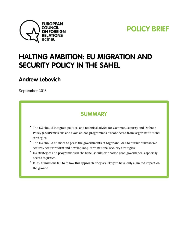 Cover: Una ambición vacilante: política de inmigración y seguridad de la UE en el Sahel