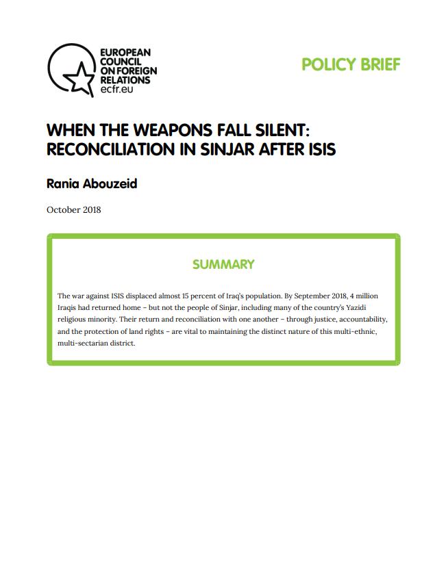 Cover: Cuando las armas enmudecen: Reconciliación en Sinjar después del reinado de ISIS