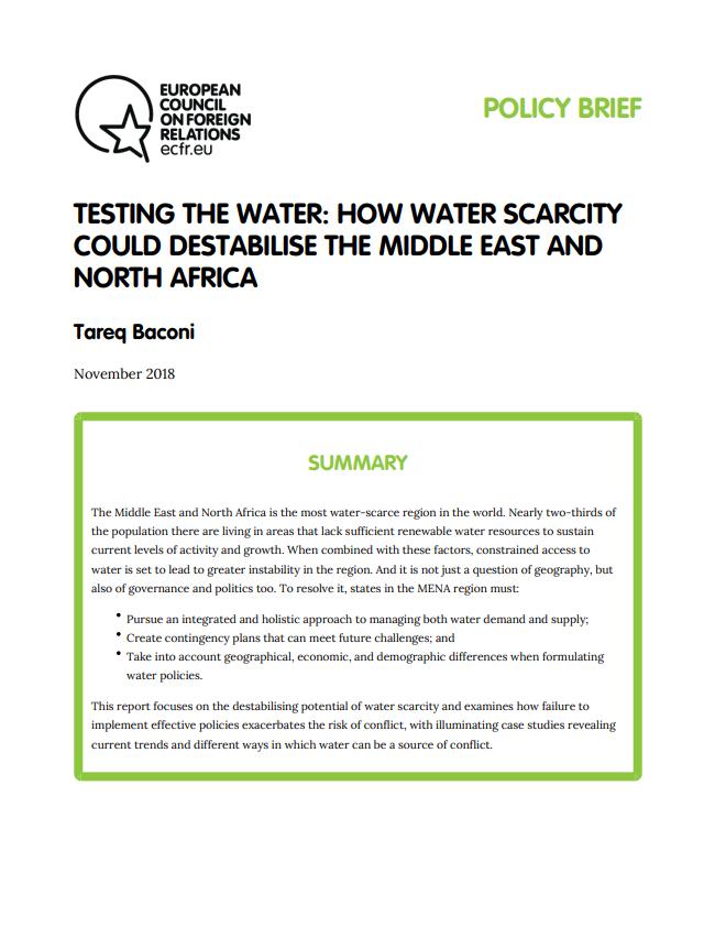 Cover: Cómo la escasez de agua podría desestabilizar Oriente Medio y el Norte de África