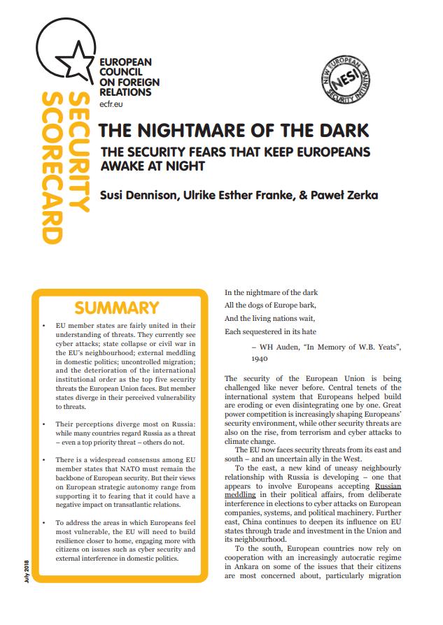 Cover: Les peurs sécuritaires : ce qui empêche les Européens de dormir la nuit