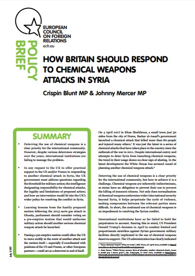 Cover: How Britain should respond to chemical weapons attacks in Syria