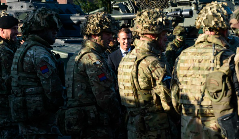 Emmanuel Macron with soldiers