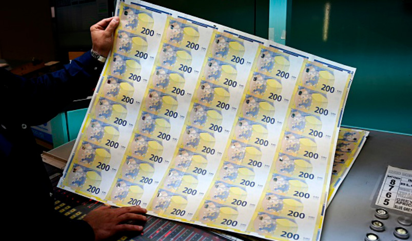 Sheet of 200 euro bills