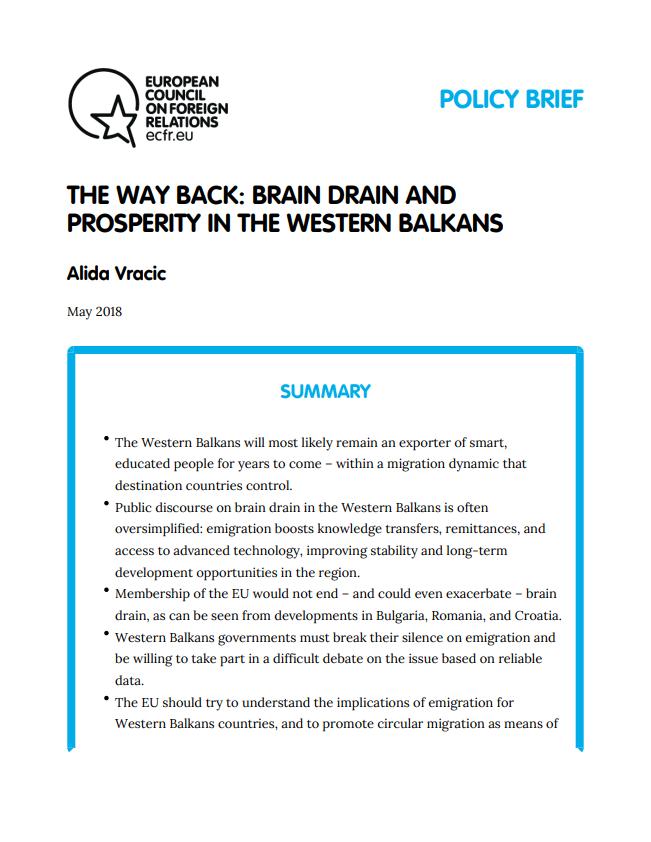 Cover: Camino de vuelta: fuga de cerebros y prosperidad en los Balcanes Occidentales