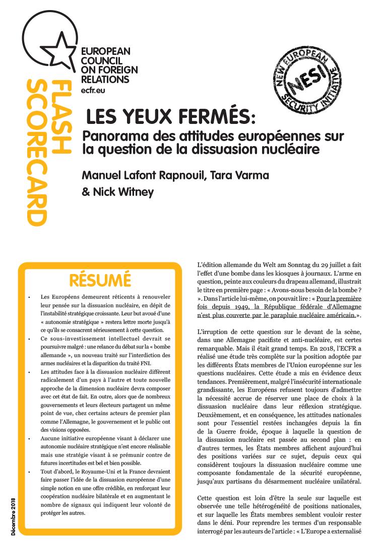 Cover: Les yeux fermés: Attitudes européennes sur la question de la dissuasion nucleaire