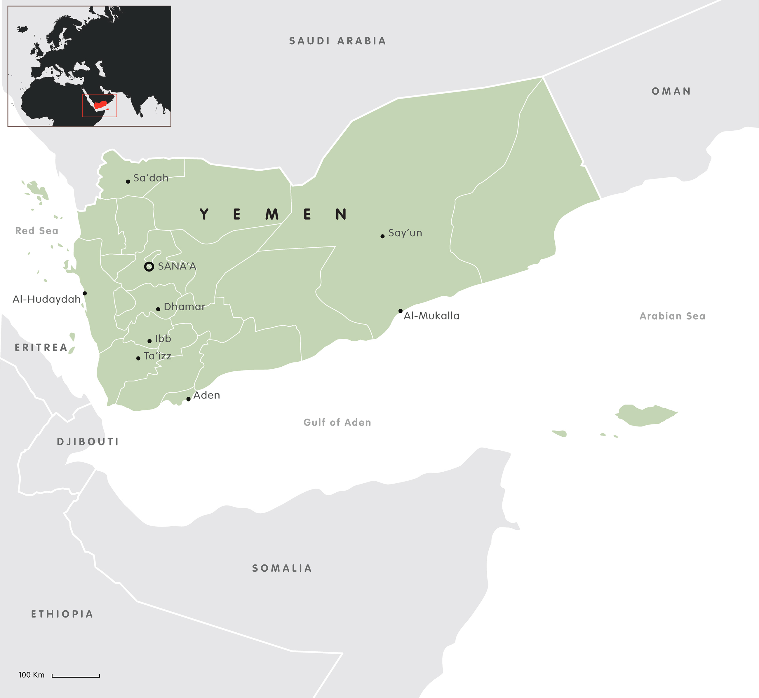 Mappa dello Yemen. Credits to: European Council on Foreign Relations.