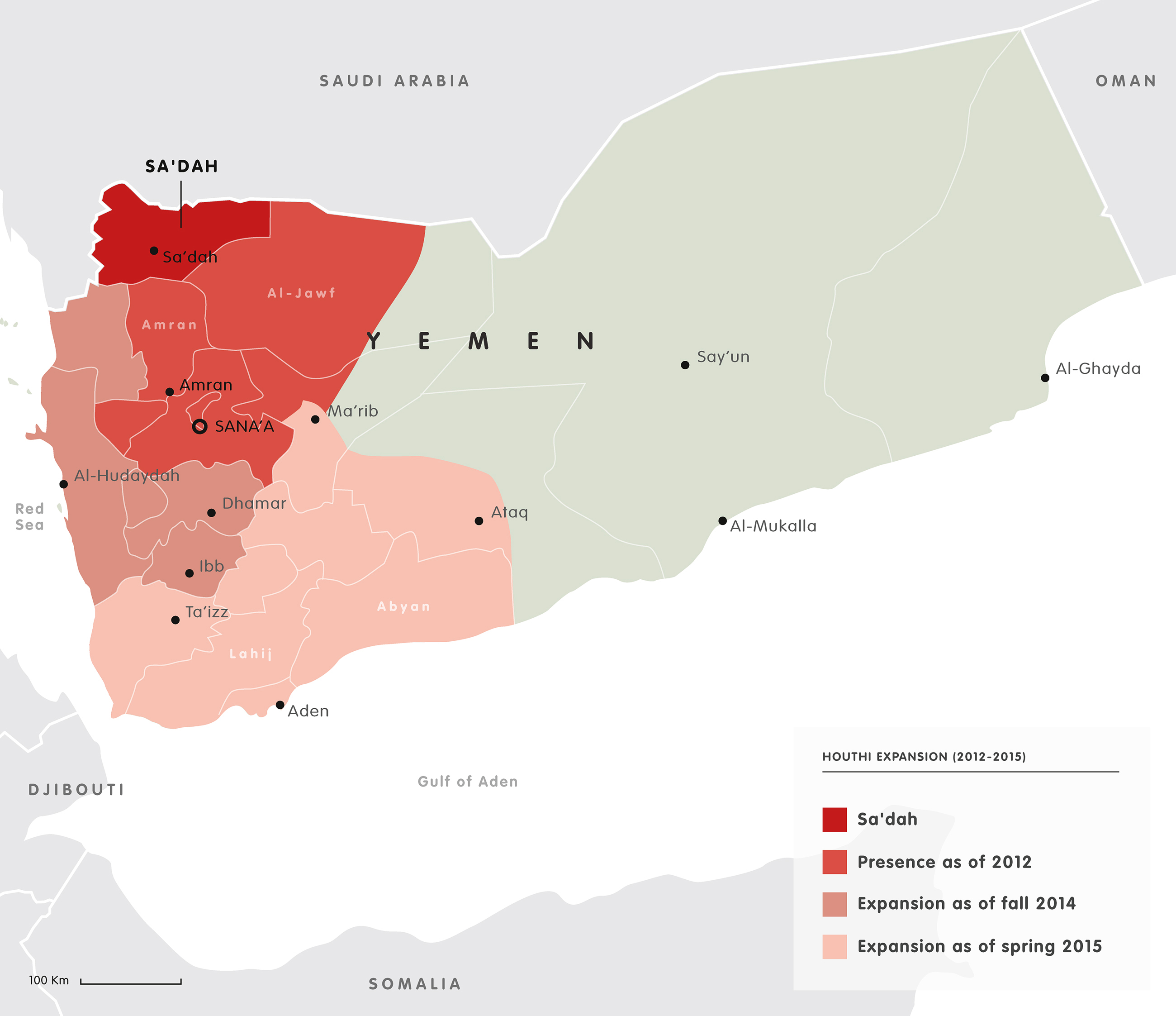 Houthi expansion in Yemen 2012-2015