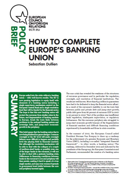 Cover: How to complete Europe's banking union