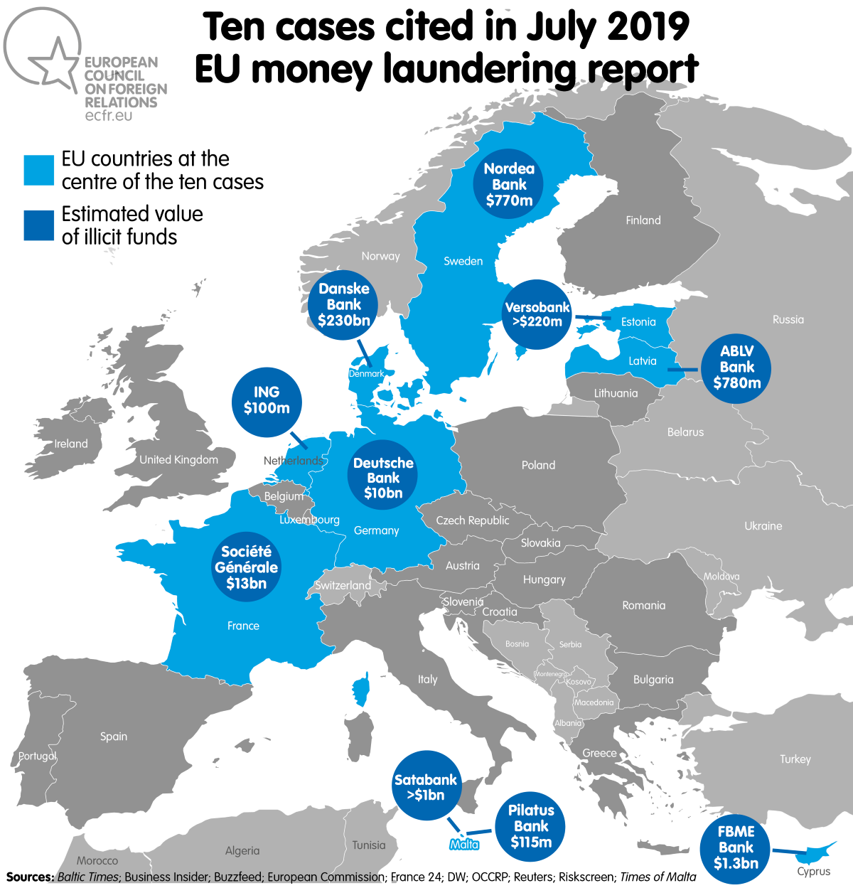 Map: Ten cases cited in July 2019 EU money laundering report
