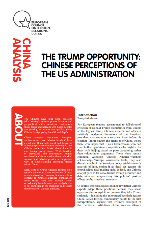 Cover: Les perceptions chinoises de l'administration Trump