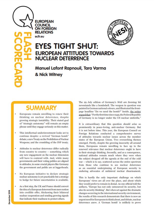 Cover: L'attitude des Européens face à la dissuasion nucléaire