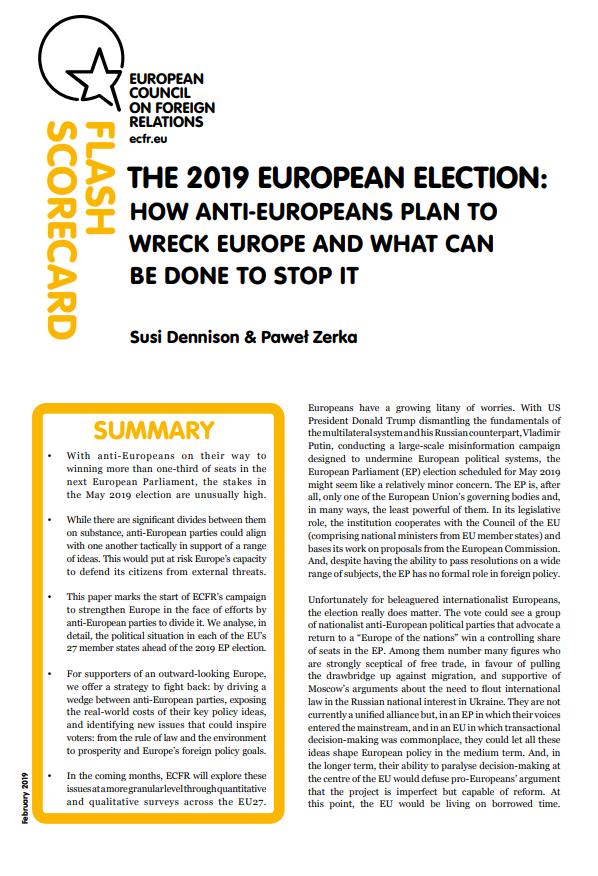 Cover: Elections européennes de 2019 : comment les anti-européens envisagent de saboter l'Europe