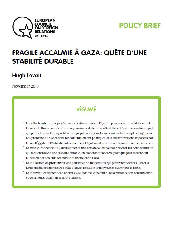Cover: Fragile accalmie à Gaza : quête d'une stabilité durable