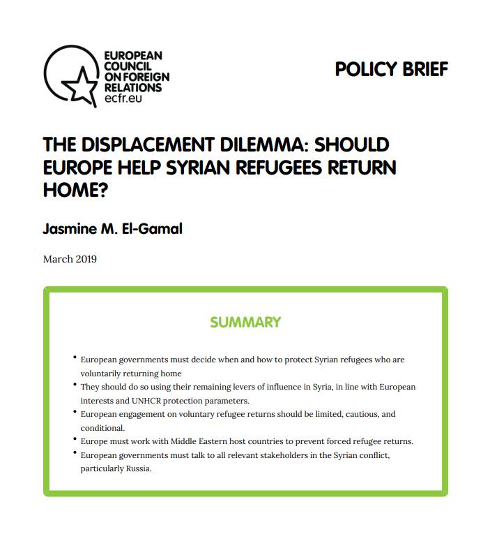 Cover: L'Europe doit-elle aider les réfugiés syriens à rentrer chez eux ?