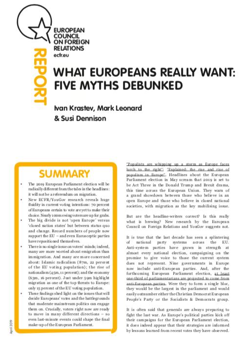 Cover: Ce que les Européens veulent réellement : cinq mythes déconstruits