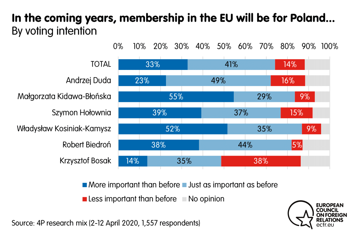Results from the ECFR poll on the importance of Poland's membership in the EU