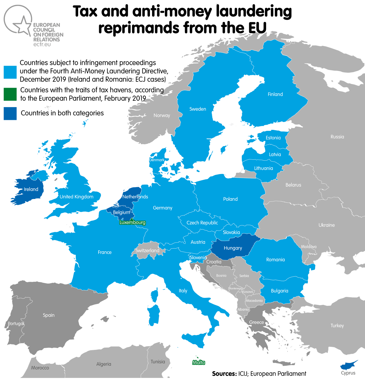 Map: Tax and anti-money laundering reprimands from the EU