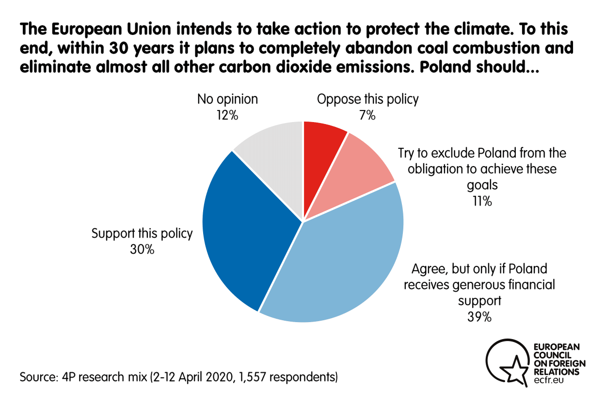 Results from the ECFR poll on Poland's take on the EU plan to abandon coal combustion in 30 years