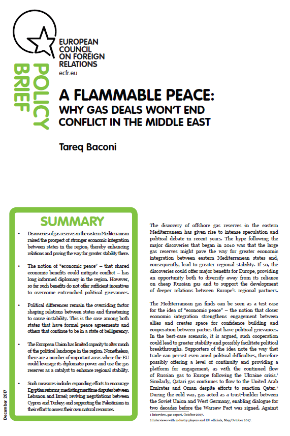 Cover: A flammable peace: Why gas deals won't end conflict in the Middle East