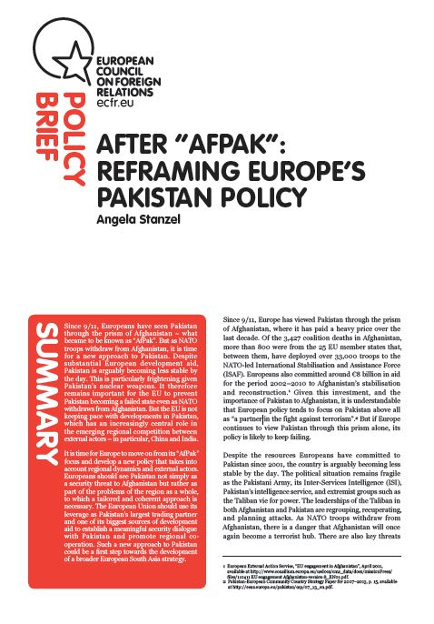 "Cover: After ""AfPak"": Reframing Europe's Pakistan policy"