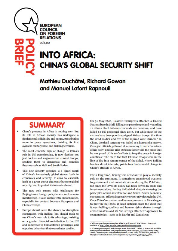 Cover: Into Africa: China's global security shift