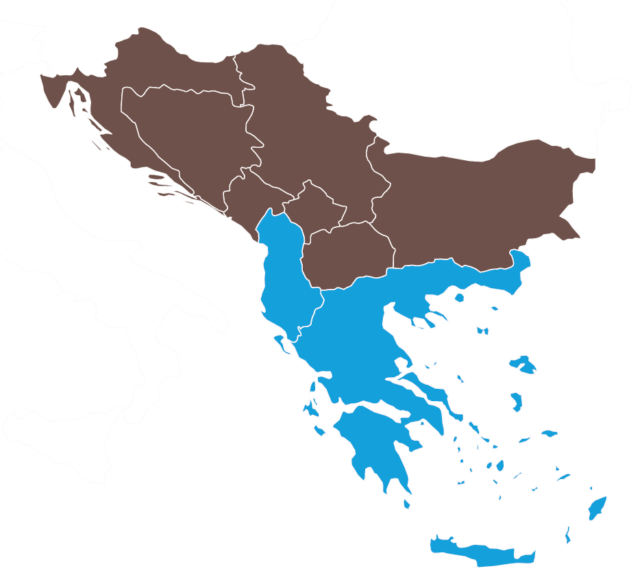 Map of Albania and Greece