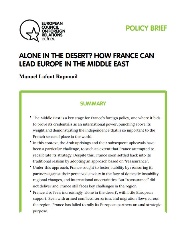 Cover: Osamotniona na pustyni? Jak Francja może przewodzić UE na Bliskim Wschodzie
