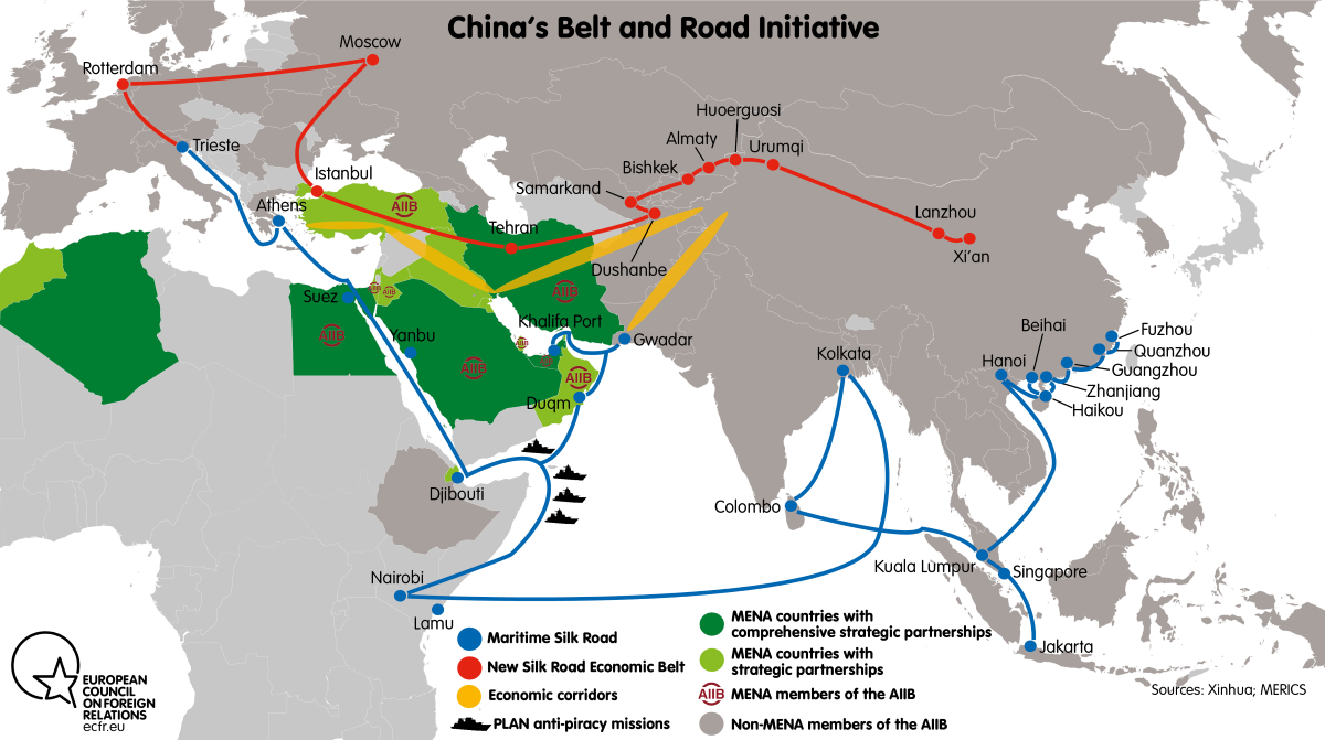 China's Belt and Road Initiative map