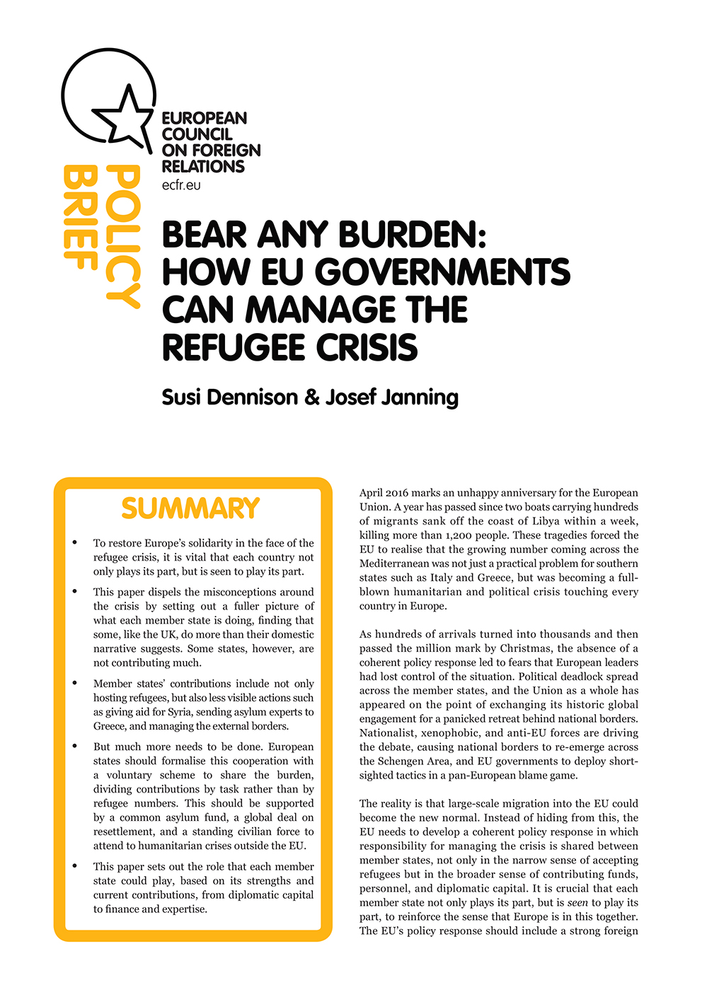 Cover: Bear any burden: How EU governments can manage the refugee crisis