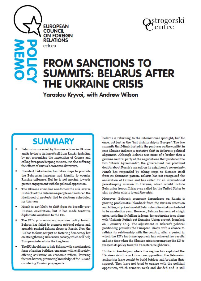 Cover: From sanctions to summits: Belarus after the Ukraine crisis