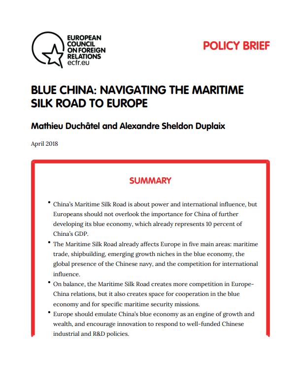 Cover: Une Chine bleue : sur la route maritime de la soie vers l'Europe