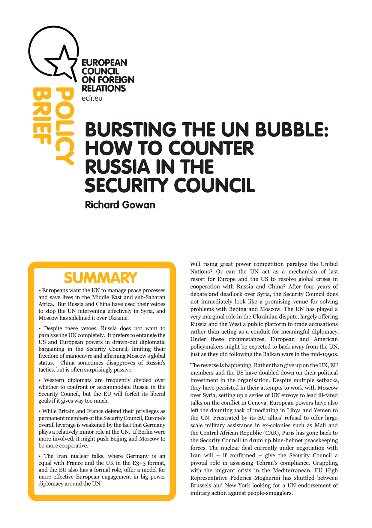 Cover: Bursting the UN bubble