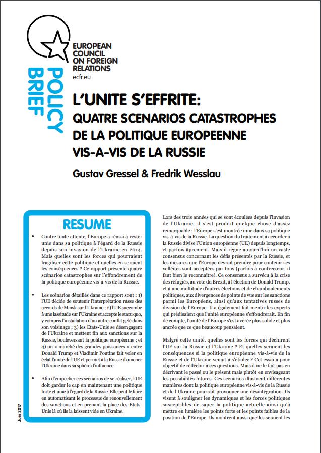 Cover: Quatre scénarios catastrophes de la politique européenne vis-à-vis de la Russie