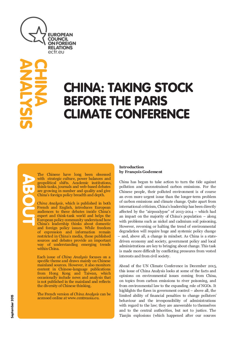 Cover: China: Taking stock before the Paris climate conference