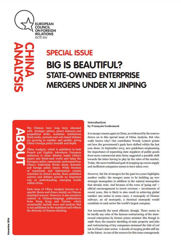"""Cover: """"Big is beautiful"""": les fusions d'entreprises d'Etat sous Xi Jinping"""
