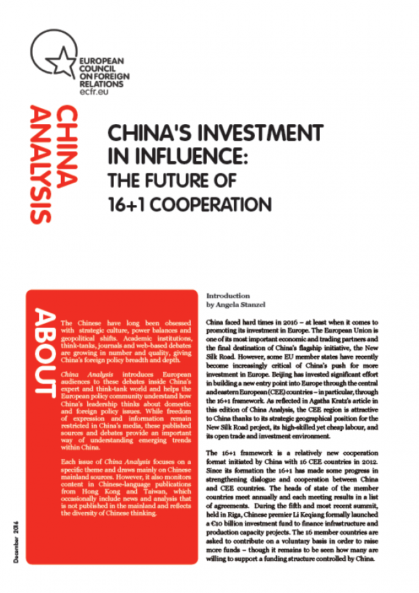 Cover: China's investment in influence: the future of 16+1 cooperation