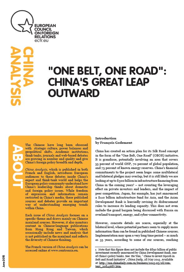 """Cover: """"One Belt, One Road"""": China's great leap outward"""