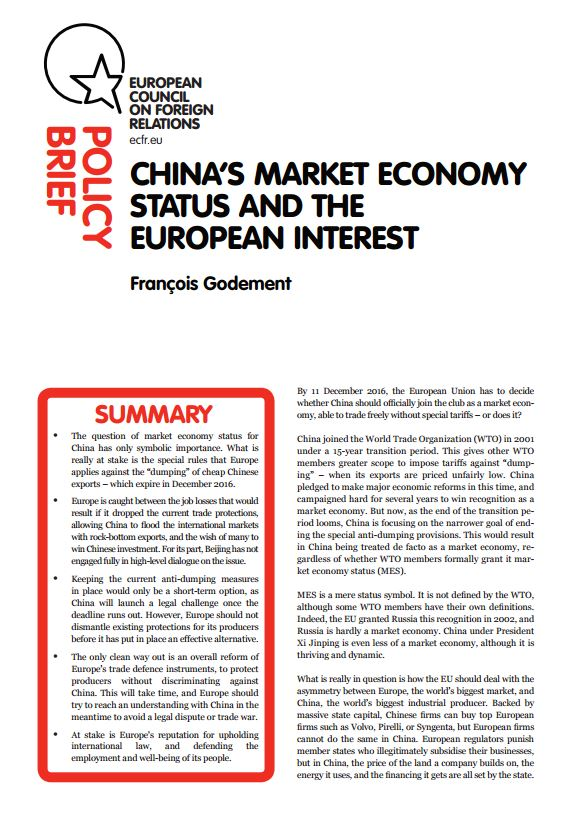 Cover: China's market economy status and the European interest
